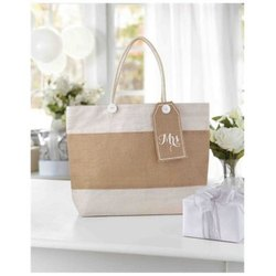 Brown And White Plain Jute Woven Handbag