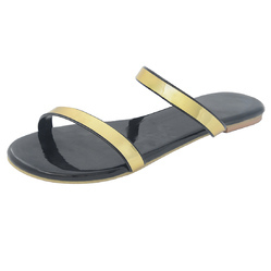 PVC & Faux Leather Gold In Black Single Strap Sandals, Size: 35, 36, 37, 38, 39, 40, 41