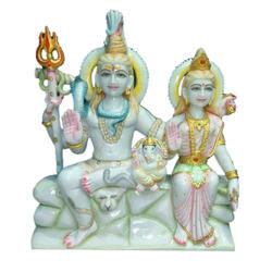 Shiv Parvati Polished Marble Statue
