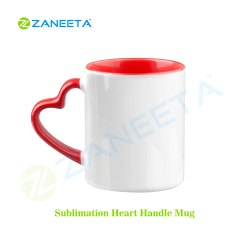 Red Three Tone Heart Handle Sublimation Mug - 11oz