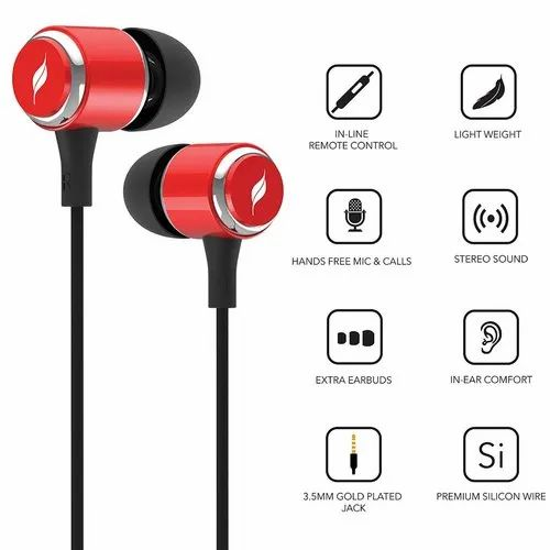 aa317eddc69 Leaf Metal Wired Earphones with Mic and in-Line Remote (Ferrari Red ...