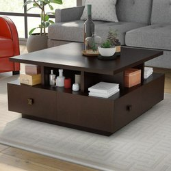 Dark Brown Square Wooden Designer, Square Living Room Table