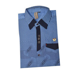 Blue Cotton Kids Casual Shirt