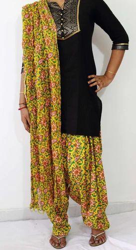 ef0ad533c7 Green And Pink And Black Yellow Flower Print Patiala Salwar Dupatta Set