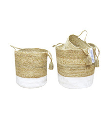 Grocery Stackable Storage Baskets Braided Jute Bin Baskets