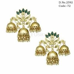 Chandelier Indian Wedding Triple Jhumki Earrings