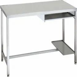 Polished Rectangular Stainless Steel Computer Table.