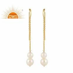 Fresh Water Pearl Drops Designer Gold Plated 925 Silver Long Chain Earrings
