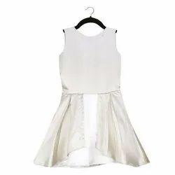 Cotton Satin Kids Girls Off White Party Wear Dress