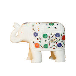 Floral Antique Inlay Arts Marble Statue Elephant