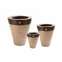Cream And Brown Ring Stone Planters Set