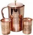 Copper Pitcher and 2 Tumbler Set, Pure Copper Jug, Handmade