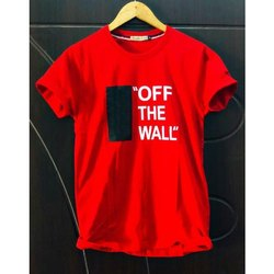 Cotton Round Men's Printed T Shirt