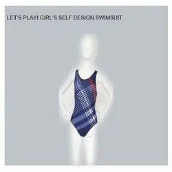 Girls Self Design Swimsuit