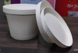 Plain White Paper Bowl With Paper Lid for Restaurants, Size: 300 mL & 500 mL