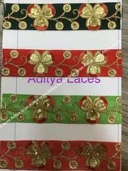Net Embroidery Laces, For Saree, Width: 1 Inch