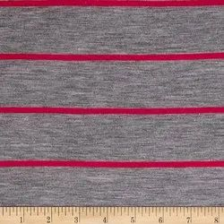 Gray With Red Strip Knitted Yarn Dyed Fabrics