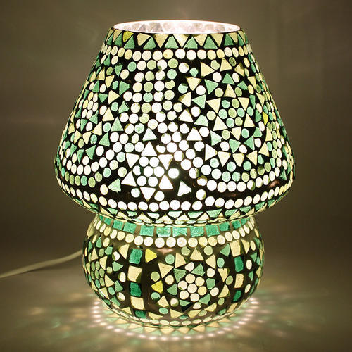 Commercial Table Lamps: LED Earthen Metal Green Crystal Dome Shaped Glass Mosaic