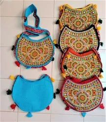 Aaditya Exports Canvas Embroidery Ladies Side Bag, For Casual Wear, Size: 12x17 Inch