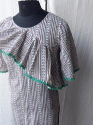 Cotton western frilled with chemical lace Dress