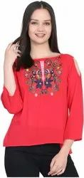 Round Neck Casual Ladies Embroidered Rayon Top