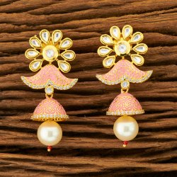 Women Formal Wear Kundan Jhumki Earring with Gold Plating 350086