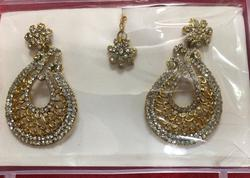 Traditional Indian Ethnic Earrings with maang tikka
