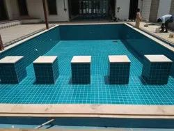 Swimming Pool Laying Tile