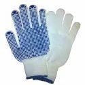 Blue, White Dot Printed Atlas Blue Dotted White Gloves