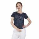 Ladies Blue Half Sleeves Casual Top