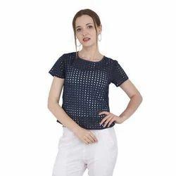 Ladies Rayon Half Sleeves Casual Top