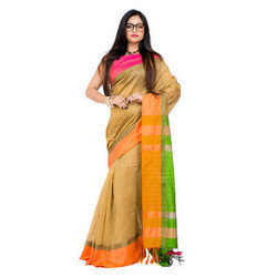 Ladies Casual Wear Border Traditional Multi Color Saree, Packaging: Box