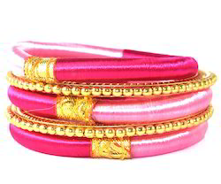 Indian Handcraft Golden Pink Party Wear Silk Thread Bangles