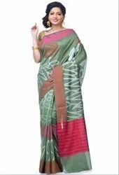 Mehendi Chanderi Resham Work Banarasi Saree