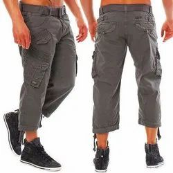 Gray Casual Wear Mens Grey Cotton Capri Pant, Machine and Hand Wash