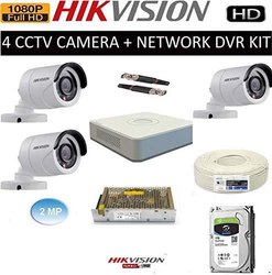 Day & Night Vision HIKVISION Full HD 2MP Cameras 4CH HD DVR 3 Bullet Cameras Combo Kit, For Outdoor Use