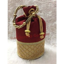 Zari Hand Embroidery Potli Bag