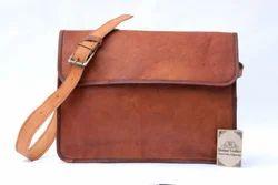 SKH Brown Leather Goat Handmade Messenger Bag