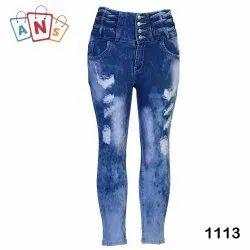 Regular High Rise Ladies Denim Stretchable Jeans
