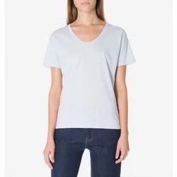 Cotton Plain Ladies Round Neck T-Shirt