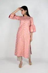 Pink Printed Silk Cotton Salwar Suit