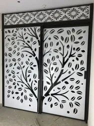 White Mild Steel Laser Cut Decorative Gate, For Residential, Packaging Type: Stretch Wrap