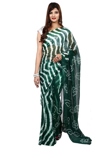 Star Chiffon Saree Half Bandhej & Half Lehariya Exclusive Rich Colour (Bottle Grey)Dupatta