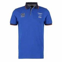 Mens Cotton Polo Neck Blue T Shirt, Size: S to XL