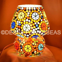 Glass Yellow Mosaic Table Lamp