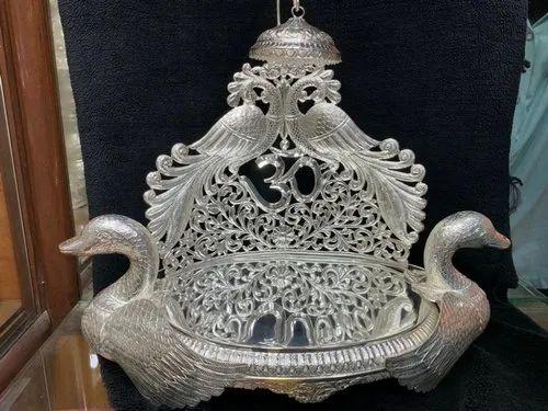 Silver Peacock Design Singhasan