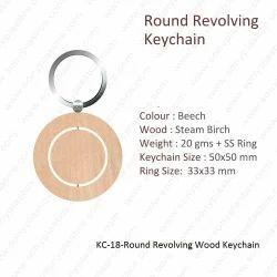 Wooden Keychain-KC-18-Round Revolving Wood Keychain