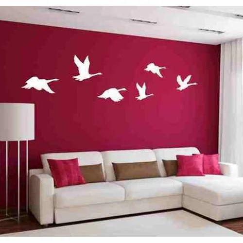 multicolor white birds wall sticker, size/dimension: 71x15 inches