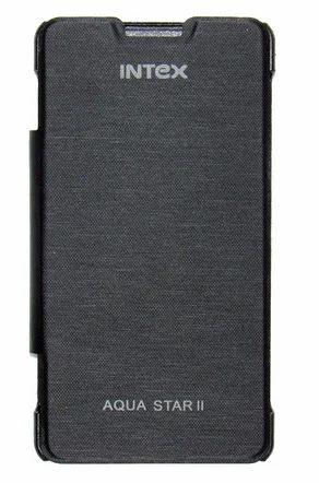 promo code 17ed1 d9124 Flip Cover For Intex Aqua Star 2 Black
