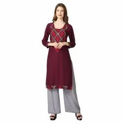 Me Fashion Rayon Embroidered Kurti With Palazzo Set